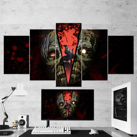 Yaiba Ninja Gaiden 01 Skull Art Work 5 Piece Canvas Wall Art Gaming Room Canvas