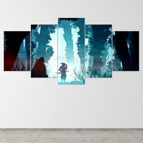 Samurai, Katana, Canvas Wall Art, Samurai Art, Canvas Art, Extra Large Wall Art, Samurai Poster, 5 Piece, 5 Panel