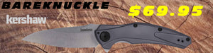 Kershaw Bareknuckle 7777 shown against a wood background.  This pocket knife features an aluminum handle with a nice tactile finish. Blade is made from 14C28N stainless steel in a stone wash finish.
