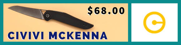 Civivi McKenna 905C pocket knife showing then show side.  This is a front flipper model.  It features a G10 handle and a flat ground Chinese D2 steel blade in a satin finish.  Deployment is smooth and utilizes a ball bearing pivot system.