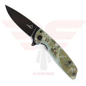 Buck N Bear Camo Pocket Knife Features a G10 Digicam Handle with a D2 Steel Blade with a Black Titanium Coat