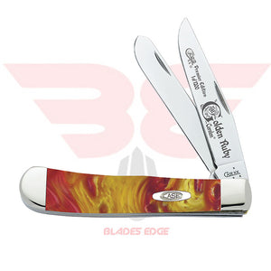 Case Trapper Premier Edition, Golden Ruby Corelon handle scales with Tru Sharp Surgical Steel Blade.  Open