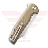 Civivi Brigand model 909B with Tan G10 Handle Scales and Satin Finished D2 Blade - Closed Position
