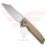 Civivi Brigand model 909B with Tan G10 Handle Scales and Satin Finished D2 Blade