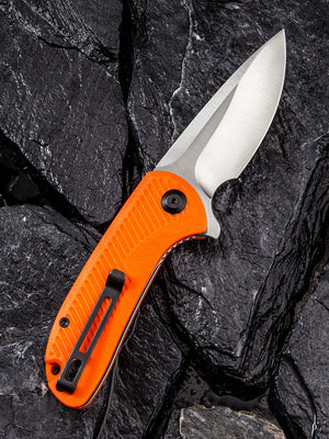 Civivi Durus with Orange G10 handle scales and hollow ground drop point style blade in D2 Steel.