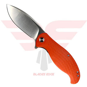 Civivi Knives | Naja 802A | Pocket Knife | Blades Edge - Knife Shown in the open position with Orange G10 handle scales and Blade Steel 9Cr18MoV in a satin finish