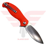 Civivi Knives | Naja 802A | Pocket Knife | Blades Edge - Knife Shown in the open position with Orange G10 handle scales and Blade Steel 9Cr18MoV in a satin finish. Back Side