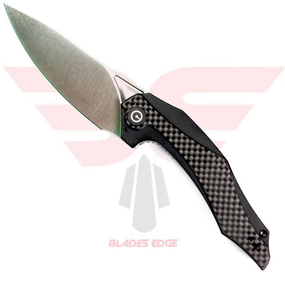 Civivi Knives-Plethiros 904C-Pocket Knives-Blades Edge Knife Shown with Combination G10/Carbon Fiber Handle Scales, D2 Blade Steel in Satin Finish