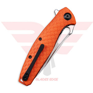 Civivi Wyvern with Orange Fiberglass Reinforced Nylon handle scales and D2 Steel Blade in a Satin Finish - Closed