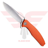 Civivi Wyvern with Orange Fiberglass Reinforced Nylon handle scales and D2 Steel Blade in a Satin Finish