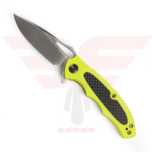Civivi Knives Shard 806 shown in the open position, Flourescent Green G10 handle scales with Carbon Fiber overlay and Satin Finished D2 Steel Blade.