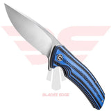Civivi Incite 908B | Pocket Knives | Blades Edge - Knife shown on the show side with combination G10/Carbon fiber handle with drop point style D2 blade in a satin finish.