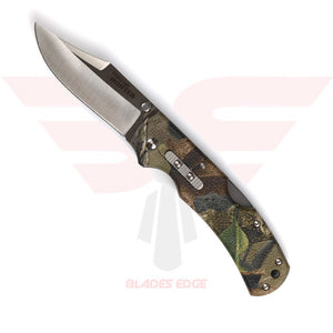 Cold Steel Double Safe Hunter Pocket Knife with a Camouflage GRN Handle and 8Cr13MoV Blade Steel in a Satin Finish