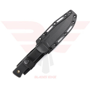 Cold Stee Fixed Blade Knife with Black Kray Ex Handle and SK5 Tool Steel Blade with Black Tuff Ex Coating - With Sheath