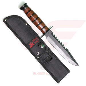 Frost Marine Commander with Black Stainless Steel Sawback Blade and Leather Wrapped Handle - Sheath