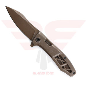 Kershaw Boilermaker 3475 features a Stainless Steel Handle and 8Cr13MoV Blade Steel Both PVD Coated an Stonewashed for Worn Look.