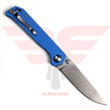 Kizer-Begleiter-Blue-A3 with Blue G10 handle scales and VG-10 stonewash blade-back side