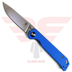 Kizer-Begleiter-Blue-A3 with Blue G10 handle scales and VG-10 stonewash blade