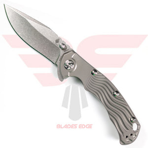 Kizer River Cat shown in the open position with grey titanium handle and stonewash finish CPM S35VN Blade Steel