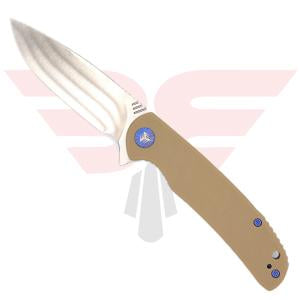 WE Knife Co. PRACTIC 809B | Pocket Knife | Blades Edge - Knife shown in open position on the show side with tan G10 handle scales and drop point style hollow ground knife made of Bohler M390 Blade steel,
