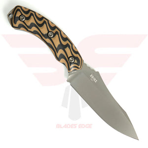 Southern Grind Jackal is a fixed blade knife with a black and tan 3D milled handle and full tang blade made from 8670M high carbon steel with a pvd coating.  Made in the USA - Back Side
