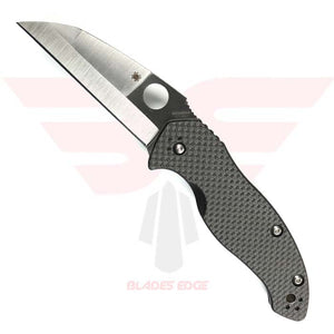 Spyderco Canis Pocket Knife Model C248CFP Features a G10/Carbon Fiber Overlay Handle with a Wharncliffe Style Blade made from CPM S 30V steel with a Mid Blade Swedge in a Satin Finish.