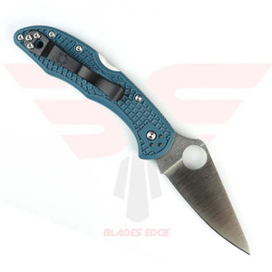 Spyderco Delica Pocket Knife Model - C11FPK390 features blue nylon handle with textured grip and K390 blade in a satin finish with a  full flat grind.  This is a manual open pocket knife with the trademark thumb hole.  Lock back type knife.  Clip View
