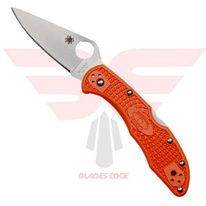 Spyderco Delica with Orange FRN Handle Scales and VG-10 Blade Steel.