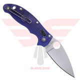 Spyderco Manix Fiberglass Reinforced Co Polymer Translucent Blue with CTS BD1 Blade Steel.  Back Side