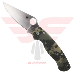 Spyderco Paramilitary 2 with Green Camo G10 handle scales and CPM-S30V Clip Point Blade