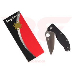 Spyderco Tenacious with Black G10 handle scales and Flat Ground, Satin Finished 8Cr13MoV Blade - Box