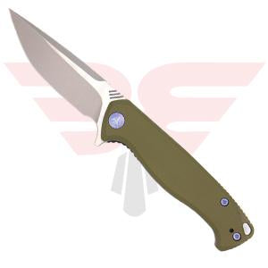 WE Knife Co. Streak 818E | Pocket Knife | Blades Edge - This show side open view with G10 handle scales, Bohler M390 stonewash/satin blade and anodized blue hardwarde
