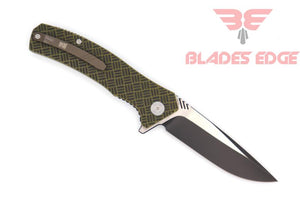 WE Knife Co. BLITZ 711B | Pocket Knife | Blades Edge - Knife shown in the open position on the business side with the heavily countoured G10 handle scales, titanium pocket clip and drop point style hollow ground blade made of VG10 steel, black in the grinds and satin in the flats