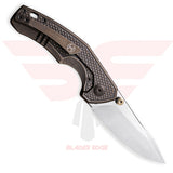 WE Knife Gnar with Bronze Titanium Handle and CPM S35VN Steel Blade in a Satin Finish - Back