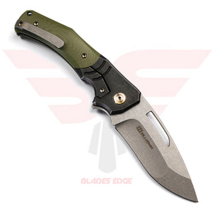 WE Knife Jixx 904A with Black titanium handle with green G10 Overlays and Stonewashed Finished Bohler M390 Blade Steel - Back