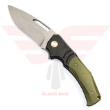 WE Knife Jixx 904A with Black titanium handle with green G10 Overlays and Stonewashed Finished Bohler M390 Blade Steel.