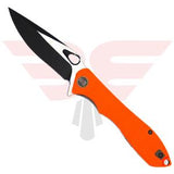 WE Knife Co. Ingition 715A | Pocket Knife | Blades Edge - Show side of knife shows the orange G10 handle scales with a drop point style blade black in the grinds and satin in the flats made of VG 10 blade steel.
