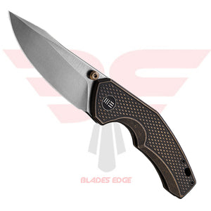 WE Knife Gnar with Bronze Titanium Handle and CPM S35VN Steel Blade in a Satin Finish