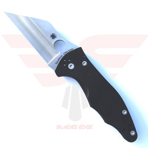 Spyderco Yojimbo 2 pocket knife - Features contoured G10 handle and Wharncliffe Style Blade made from CPM-S30V steel known for edge retention and corrosion resistance.  Black handle satin blade finish.