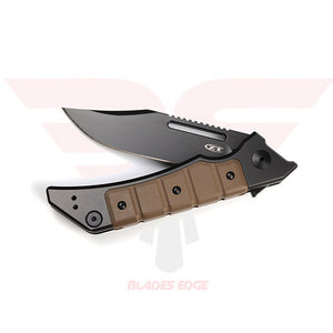 Zero Tolerance 0223 with Black Titanium Handle with Brown simulated leather stacked handle scales.  The Clip Point  blade is flat ground with a Black DLC coating and made from CPM 20CV steel - Folded View