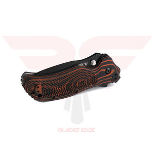 Zero Tolerance Knives 0350 Moccasin with striking orange/black G10 handle scales and Black DLC Coated Drop Point Style Blade made from CPM-S30V Blade Steel - Closed Position