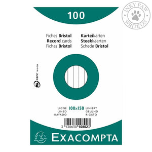 Exacompta Bristol Index Cards 100X150 Lined Paper