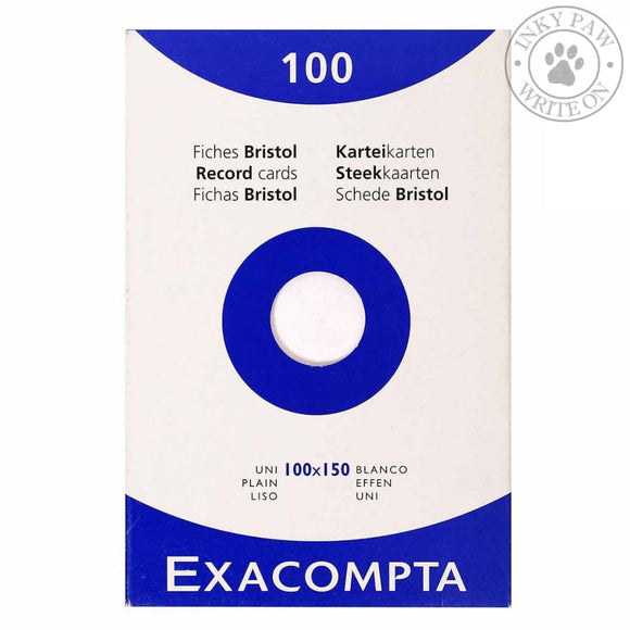 Exacompta Bristol Index Cards 100X150 Plain Paper