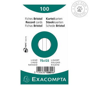 Exacompta Bristol Index Cards 75X125 Lined Paper