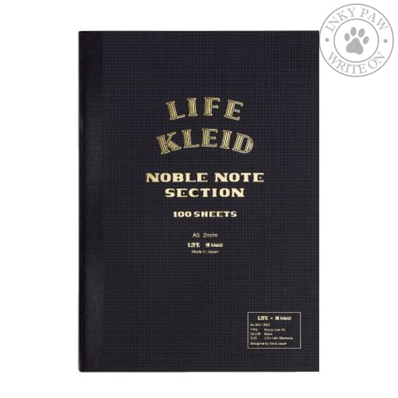 Kleid X Life Noble Note A5 Notebook - Black Cream Paper