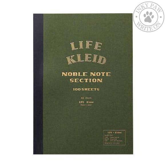 Kleid X Life Noble Note A5 Notebook - Olive Cream Paper