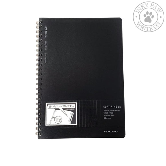 Kokuyo A5 Soft Ring Biz Notebook 5Mm Grid Black Paper
