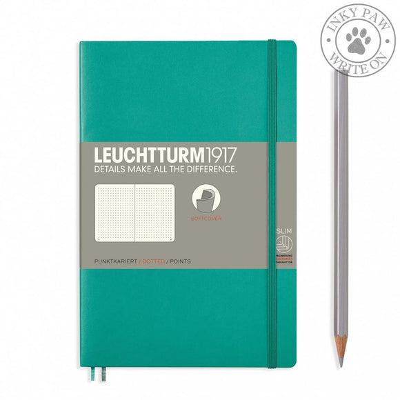 Leuchtturm1917 B5 Softcover Composition Notebook - Emerald Dotted Grid