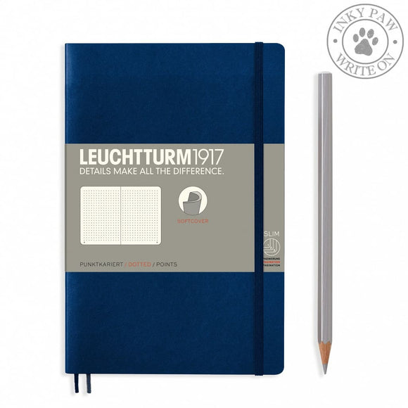 Leuchtturm1917 B5 Softcover Composition Notebook - Navy Dotted Grid