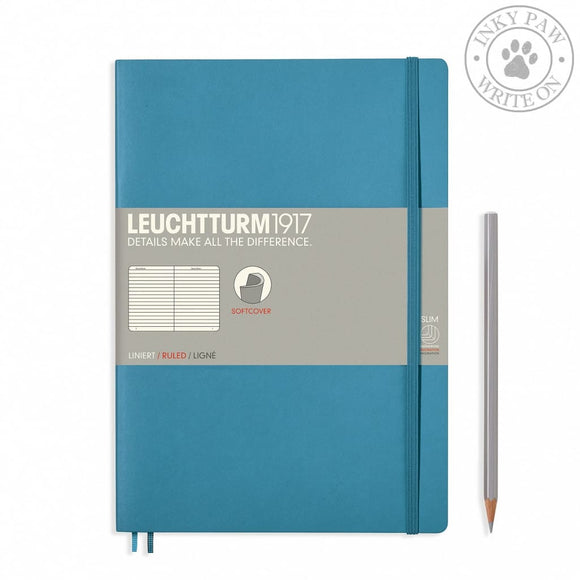 Leuchtturm1917 B5 Softcover Composition Notebook - Nordic Blue Ruled Paper